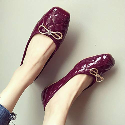 wine shoes maternity EU bottom soft summer red FLYRCX Spring work leather ladies and shoes shallow patent bow office 35 shoes comfortable flat shoes mouth 1xUpxq