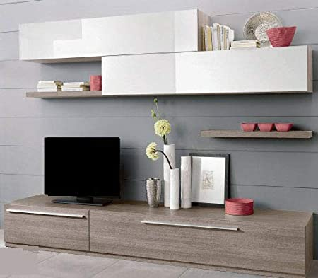 árbol de – Pared Modular para salón – Color: olmo gligio y blanco brillante – Salón. La Base de