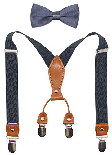 Suspenders & Bowtie Set for Kids and Baby - Adjustable Elastic X-Band Strong Braces ()