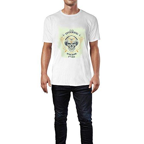 SINUS ART® UK Hipster Totenkopf mit Kopfhörer Herren T-Shirts in Weiss Fun Shirt mit tollen Aufdruck