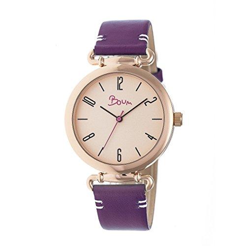 Boum Lumiere Quartz Plum Genuine Leather Rose Gold Women's Watch (Women Watches Boum)