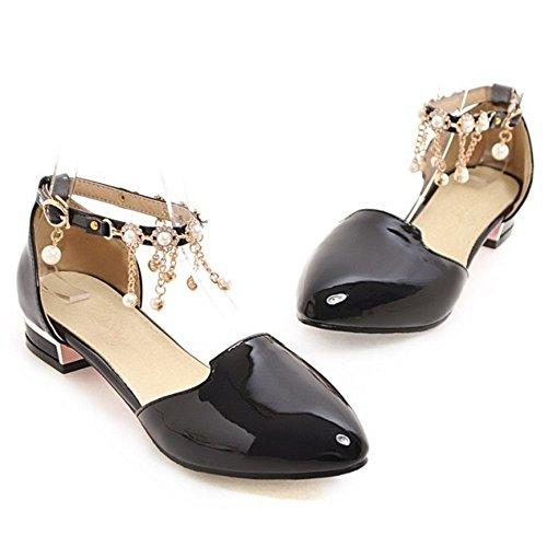 TAOFFEN Mujer Casual Correa de Tobillo Verano Zapatos Hebilla Perla Plano Sandalias Negro