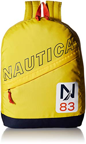 Nautica Men's Diagonal Zip Polyester Resistant Laptop Backpack, Yellow/Patch, One Size