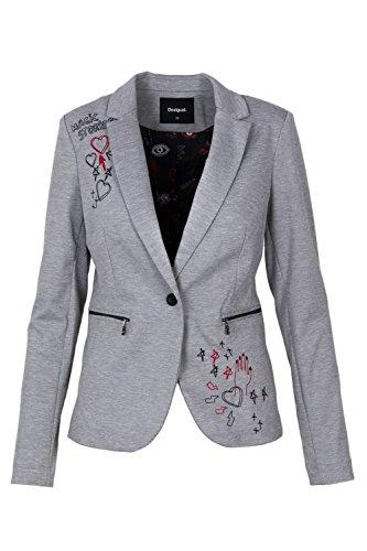 Desigual Women's 18Swew73grey Grey Polyester Blazer by Desigual