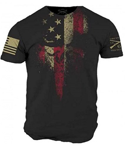 New Affliction Black Shirt - Grunt Style American Reaper Men's T-Shirt (Large)