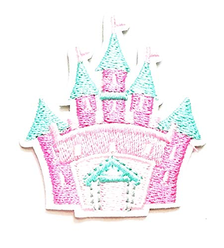 Nipitshop Patches Beautiful Castle Pink Cartoon Kids Patch Embroidered Iron On Patch for Clothes Backpacks T-Shirt Jeans Skirt Vests Scarf Hat Bag