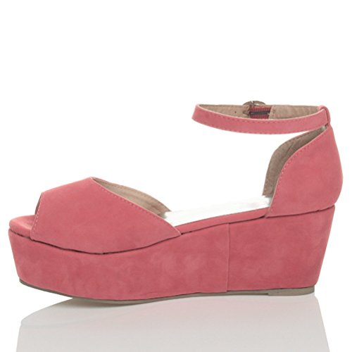 Size Pink Ajvani Shoes Coral Sandals Candy Heel Flatform Suede Mid Women TYCqF