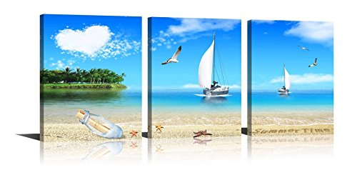 Beach Painting Starfish Sailboat Stretched and Framed Canvas Artwork for Wall Decor Living Room Bedroom 3 Panels (Newport Wood High Chair)