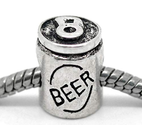 Jewelry Making Supplies Beer Can Alcohol Drink Party Bar Beverage Ale Spacer Charm for European Bracelet Make Personalized Necklaces Bracelets and Other Jewelry