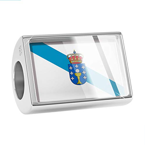 (NEONBLOND Charm Galicia Flag Region: Spain 925 Sterling Silver Bead)