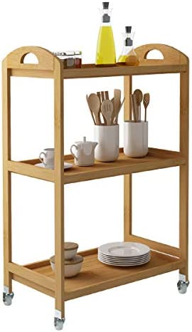 Soges Storage Kitchen Cart Serving Bar Cart Utility Trolley Organizer Rack with 3 Shelves for Living Room, Bathroom, Bamboo, KS-ZC-06