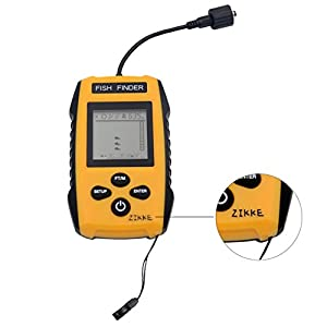 Upgrade Outdoor Portable Fish Finder-Zikke Fishfinder Tackle Fishes With Wired Sonar Sensor Alarm Transducer And Lcd Display Depth Finders For Fishing By Pool,Rivers, Lakes, Seas And Oceans (Yellow)