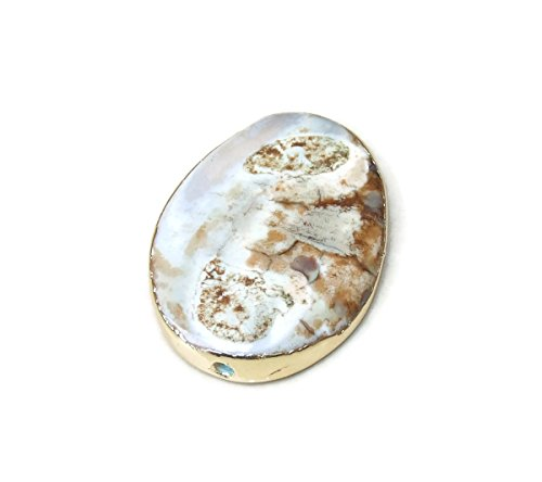 White and Brown Agate Druzy Polished Oval Slightly Twisted Bead - Gemstone Pendant - Agate Pendant - Gold Plated Edge - Center Drilled - 30mm x 40mm - Agate Oval Pendant Bead