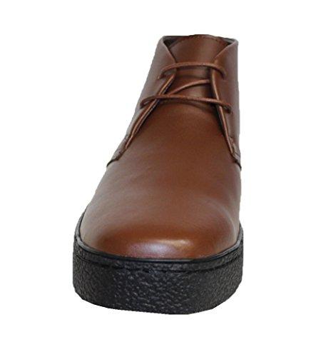 Rocker Britse Stijl - Chukka Hoge Hoogste Mens Bruin Lederen Schoenen (playboy Stijl # 5612)