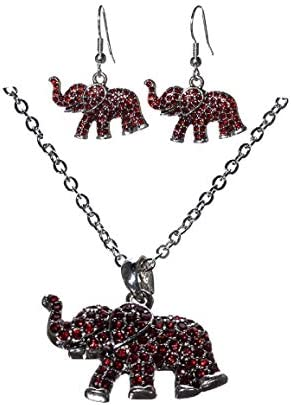FTH Crimsons Elephant Earrings Necklace product image