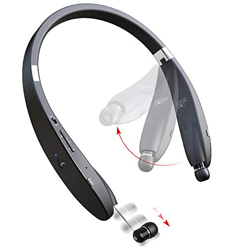 Bluetooth Headphones Wireless Neckband Headset - Sweatproof Foldable Earphones with Mic, Retractable Earbud and 16 Hours Play Time for iPhone Android Cellphone Tablets ()