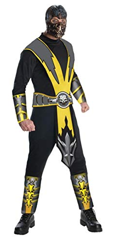 Mortal Kombat Adult Scorpion Costume And Mask, Gold/Black, X-Large
