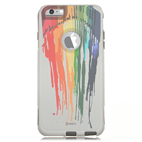 - Unnito iPhone 6 PLUS Case - Commuter Case for iPhone 6S PLUS Case - Hybrid Slim Cover With Hard Shell and Soft Inner Layer For Apple iPhone 6 PLUS White Case - Melted Crayons