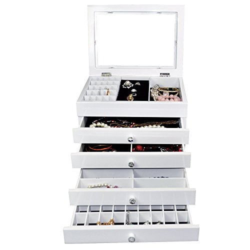 ikee design high gloss view top wood jewelry storage chest