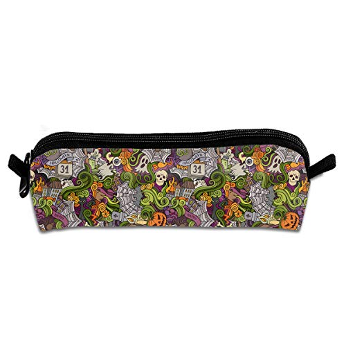 MOOTIL Halloween Cartoon Doodle Printing Portable Pen Holder Stationery Pencil Pouch Cosmetic Bags -
