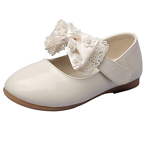 MAXU Little Girls Adorable Mary Jane Dress Shoes,Beige,Toddler,5.5M