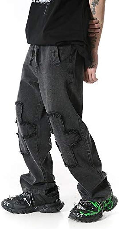 Harajuku Cross Frayed Straight Loose Ripped jeansy męskie i damskie prane, styl retro, streetwear, bardzo duże rozmiary: Odzież