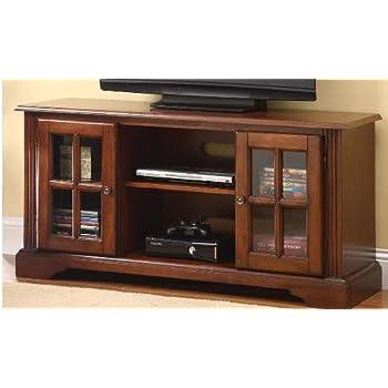 Amazon Com Basma Cherry Finish Wood Tv Stand
