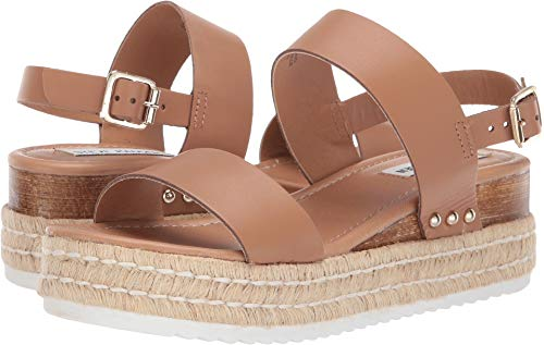 (Steve Madden Women's Catia Wedge Sandal Natural Leather 6 M US)