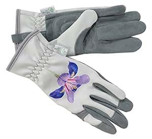 La RHS Collection por Gold Leaf Malvern señoras guantes de jardinería de piel de ciervo, Gris y Morado, 32x 11x 4cm