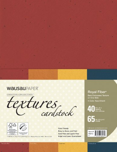 Neenah Creative Collection Textures Specialty Cardstock, 8.5 X 11 Inches, Royal Fiber Assorted, 40 Count (46013)