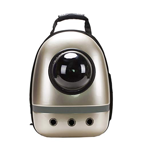 (ForHe Portable Astronaut Pet Cat Dog Puppy Carrier Pet Travel Bag Space Capsule Backpack for Small Pets,Breathable,Transparent,Champagne)