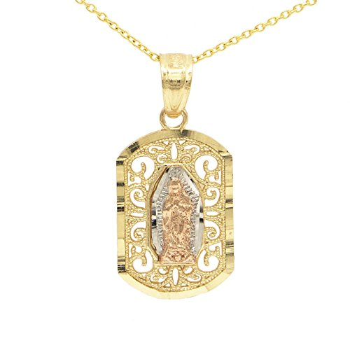 Beauniq 10k Yellow//White//Rose Gold Lady of Guadalupe Virgin Mary Necklace