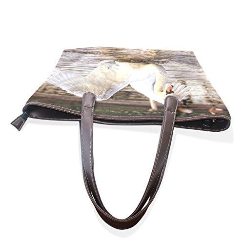 Acquatico Tracolla 40x29x9 M Bag Maniglia Pu Womens Uccello Cm Coosun Large Cuoio Nel Tote Muticolour Swan 7nXSxOqP