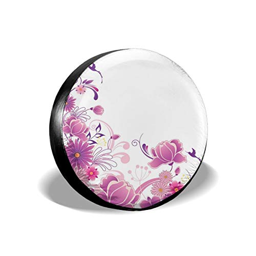 GULTMEE Tire Cover Tire Cover Wheel Covers,Pink Flourish Ornament Fantasy Garden Flying Little Birds Artful Design,for SUV Truck Camper Travel Trailer Accessories(14,15,16,17 Inch) 16