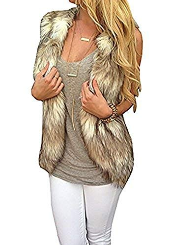 Dikoaina Fashion Women Sleeveless Front Open Warm Faux Fur Vests Coat Outwear