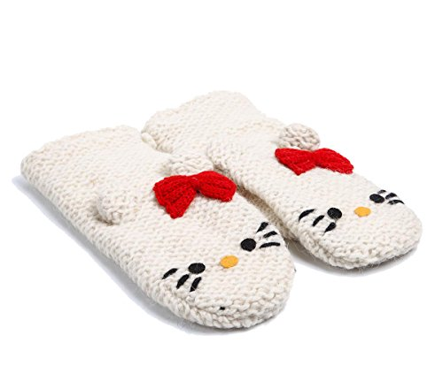 Delux Knitwits Hello Kitty Kids Mittens White ()