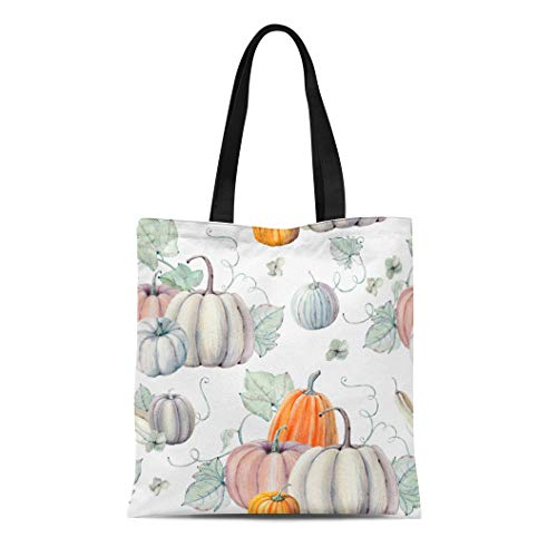 Semtomn Cotton Canvas Tote Bag Pattern Watercolor Pumpkins It Is Thanksgiving Halloween Recipe Fall Reusable Shoulder Grocery Shopping Bags Handbag Printed]()