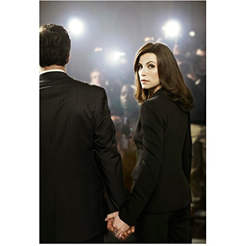 The Good Wife (2009 - 2016) 8 Inch x 10 Inch photograph Julianna Margulies Black Suit Holding Hands w/Man Looking Over Left Shoulders kn
