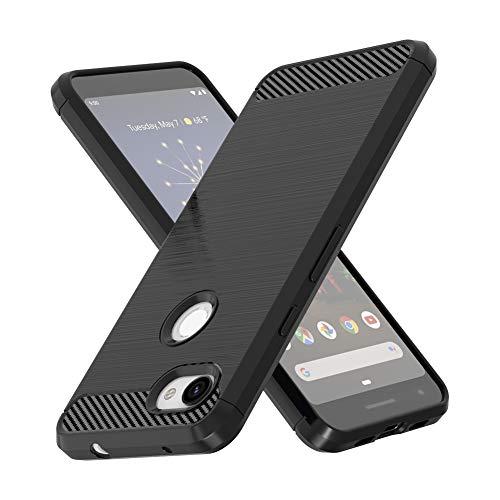 Vinve Carbon Fiber TPU Designed for Google Pixel 3a XL, Slim Shock Absorption Anti-Scratches Flexible Soft Protective Cover Case (Black)
