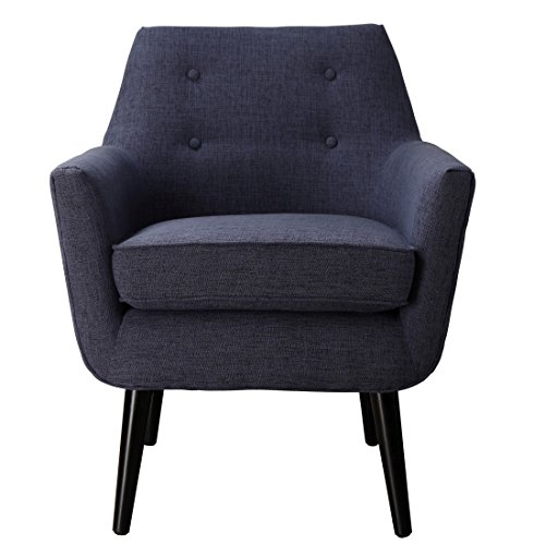 """TOV Furniture Clyde Collection Mid Century Upholstered Tufted Living Room Accent Chair, Navy Blue - Comfortably Sized: this listing is for a single clyde living room chair, the clyde upholstered accent chair measures 26""""w x 28""""d x 31.5""""h and weighs approx 31.5 lbs. the upholstered chair arrives assembled and ready to be enjoyed Handcrafted to Perfection: a comfortable and luxurious accent chair with a solid beechwood frame that is perched atop solid wood legs, carefully upholstered in linen and completed with 4 small scale button tufting. Comfortable Seating Dimensions: the seat cushion is removeable and the seating dimensions are an accommodating 18.5""""w x 21.3""""d x 18.3""""h while the arm height stands at 23"""". the midcentury chair is spot clean only - living-room-furniture, living-room, accent-chairs - 41vi9ZP9fHL -"""