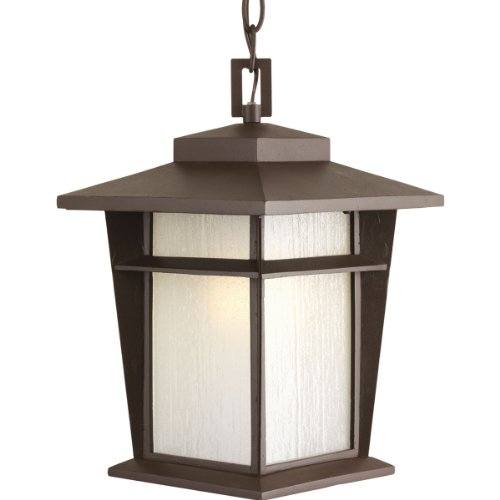 - Progress Lighting P6521-20WB 1-Light Hanging Lantern with Bulb Etched Seeded Glass Panels