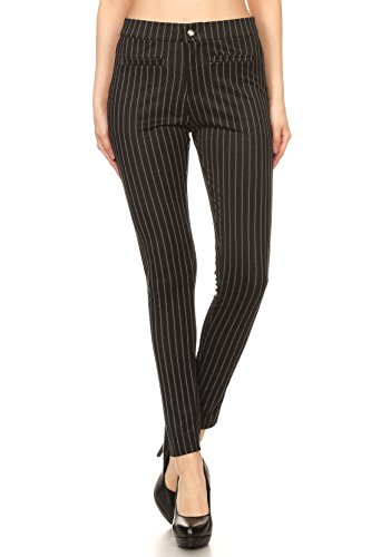 ICONOFLASH Women's Pinstripe Legging Pants (Black, (Black Pinstripe Pants)