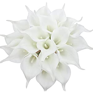 Duovlo 20pcs Calla Lily Bridal Wedding Bouquet Lataex Real Touch Artificial Flower Home Party Decor (Pure White) 22