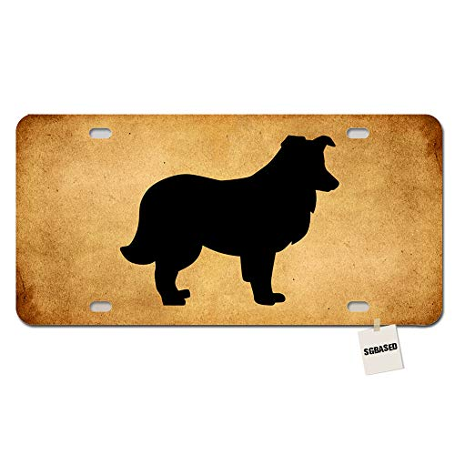 e Novelty License Plate Cover Metal Auto Car Tag 4 Holes(12 X 6 inches) - Shetland Sheepdog Silhouette ()