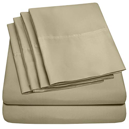 - 6 Piece 1500 Thread Count  Deep Pocket Bed Sheet Set - 2 EXTRA PILLOW CASES, GREAT VALUE - Queen, Sage