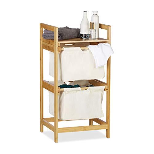 Relaxdays Wäschekorb Bambus, Wäschesortierer mit Ablage, 2 Schubladen, ausziehbar & tragbar, Wäschesammler 25 L, Natur, 1 Stück