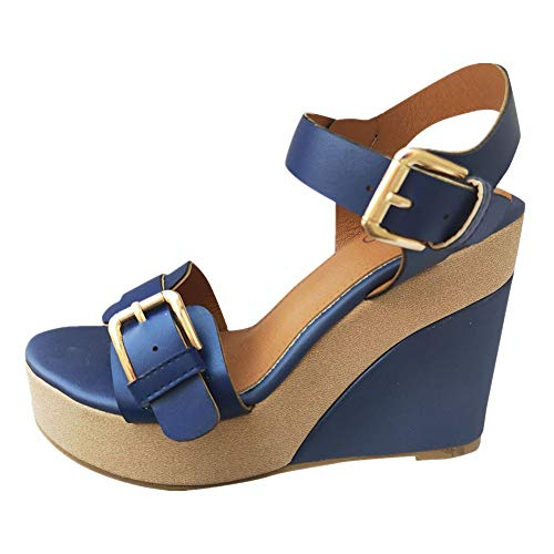 (Women's Wedge Sandals Summer Buckle Strap Open Toe Platform High Heels Ankle Strap Pumps Shoes (Blue -3, US:5.5) )