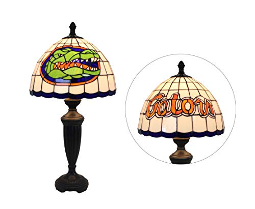 Yogoart 12-inch NCAA Florida Gators Stained Glass Table Lamp 24.8-inch Total Height
