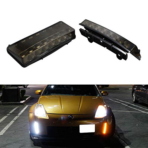 (iJDMTOY Smoked Lens Switchback LED Daytime Running Lights For 03-05 Nissan 350z (Pre-LCI), Direct Fit Dual Color Front Bumper Reflector Replacement Powered by 7 LED Chips Each Lamp)