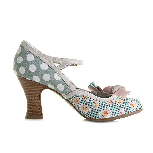 LADIES RUBY SHOO DEE MINT/PEACH VINTAGE INSPIRED RETRO SHOES-UK 4 (EU 37)